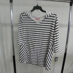 Black striped 3/4 sleeve tunic